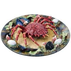 Majolica Tromp L'oeil Crab Dish, Alvaro Jose, Caldas Da Rainha