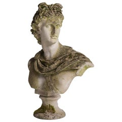 Weathered Garden Bust after Apollo Belvedere, circa 1940