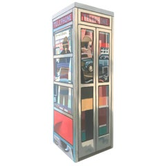 Colorful Pop Art Painted Telephone Booth Sculpture, Mark Clark, 1981
