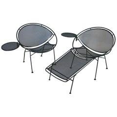Pair of Vintage Salterini 'Radar' Lounge Chairs with Ottoman