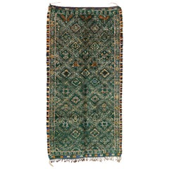 Vintage Green Beni M'Guild Moroccan Rug with Tribal Style, Berber Moroccan Rug