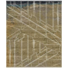 Milano Khaki Contemporary Graphic Handcrafted Wool and Silk Rug by Mike Shilov