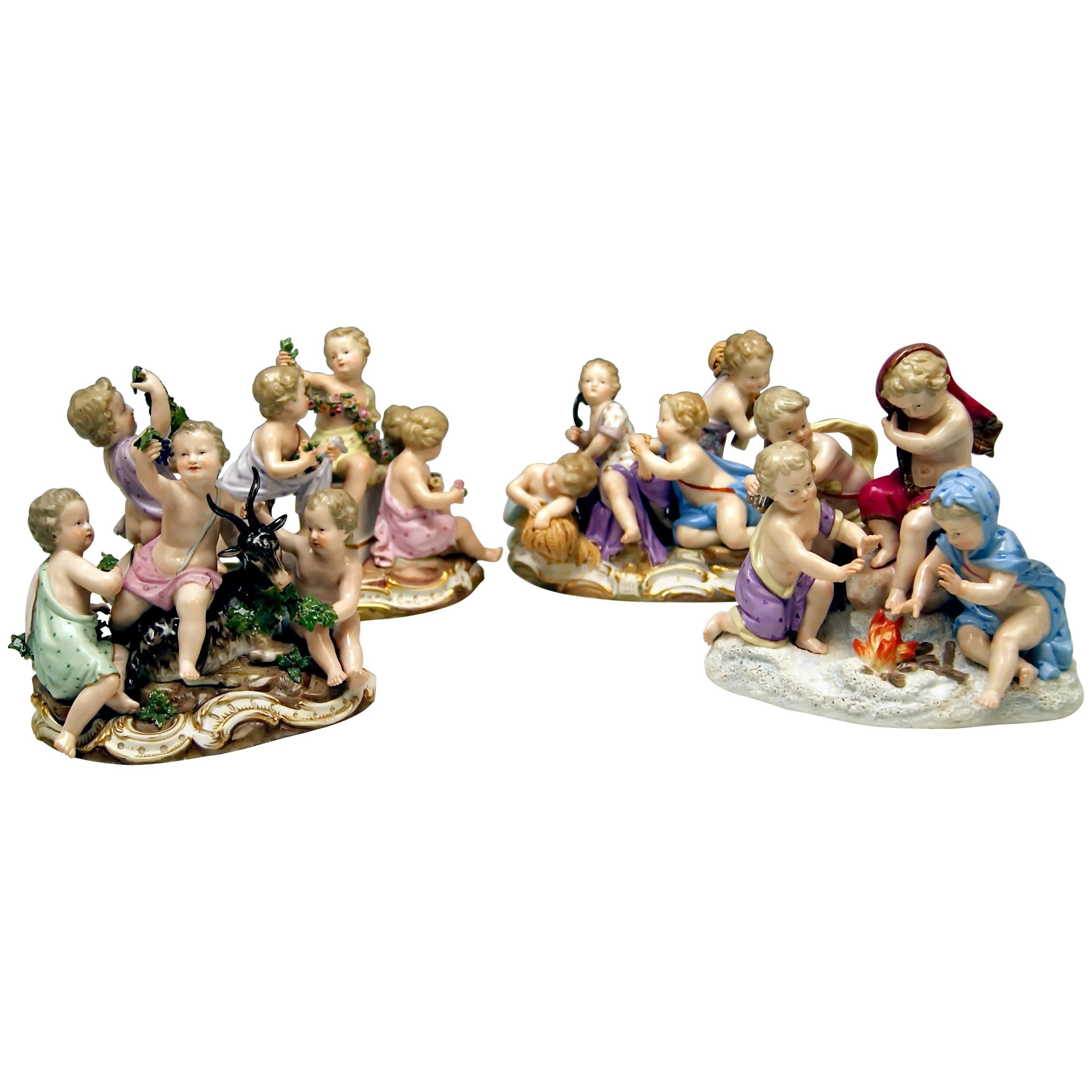 Meissen Four Seasons Figurines by Kaendler, circa 1850