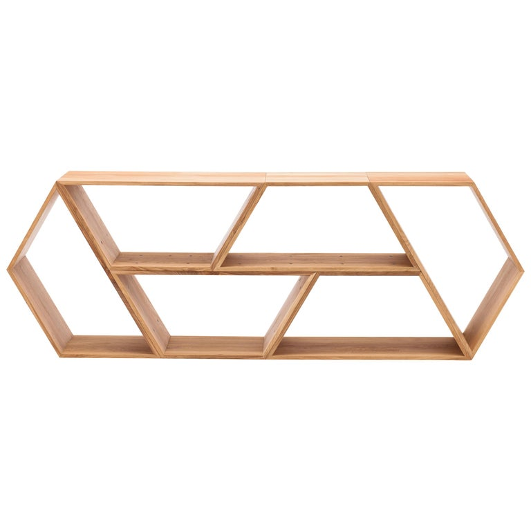 Tetra, Solid Oak Customisable Contemporary Shelving Units by Made in Ratio For Sale