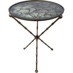 Maison Baguès Bronze Smoked Grey Gilt  Vien Mirror Top Table Hollywood Regency