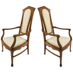Medea Hand-Carved Art Nouveau Style Armchairs, Pair