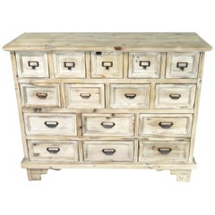 Multi Drawer Apothecary Style Dresser in Distressed White Paint