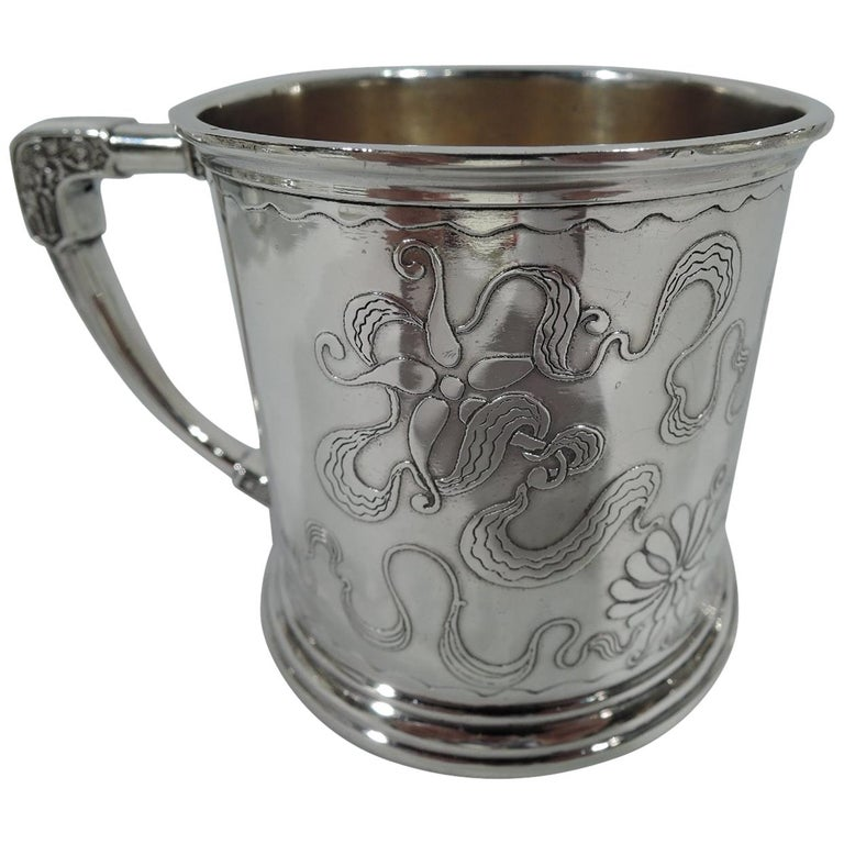 Stylistically Advanced Art Nouveau Sterling Silver Baby
