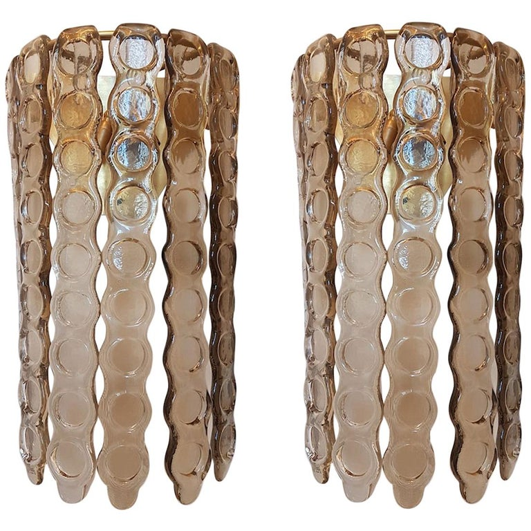 Pair of Murano Smoked Glass Sconces, Mazzega Style, Mid-Century Modern, 1970s For Sale