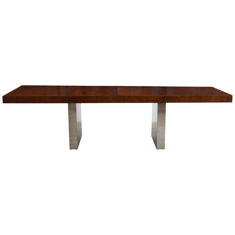 Milo Baughman Burl Wood Chrome Extension Dining Table