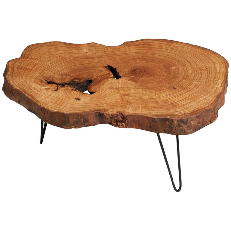 Vintage Rustic Freeform Tree Slab Coffee Table For Sale At: Ash Tree Live Edge Coffee Table, Live Edge Table, Rustic