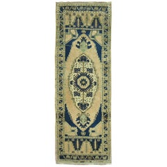 Vintage Turkish Small Runner Throw Rug