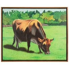 """Pat Jensen Oil on Canvas, """"Cowscape #4"""""""