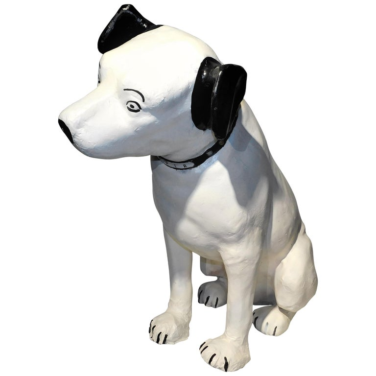 His Masters Voice Large Store Display Paper Mache 'Nipper' Dog RCA