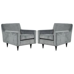 Pair of Mid-Century Modern Upholstered Parlor Arm Living Room Chairs