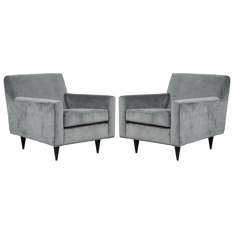 Pair Of Mid Century Modern Upholstered Parlor Arm Living Room Chairs For Sale At 1stdibs