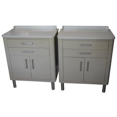 End Tables for Bedside or Sofa End Storage of Midcentury Two-Tone Steel, Pair