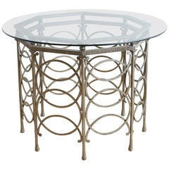 Round Neoclassical Style Silverleaf Metal Dining Table