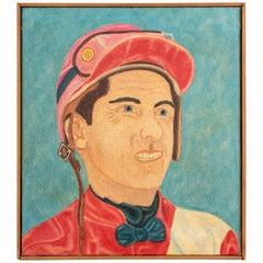 """Pat Jensen Oil on Canvas, """"Jockey, Jack Leonard"""""""