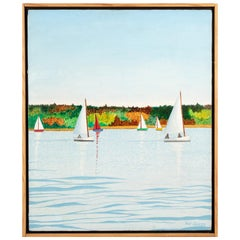 "Pat Jensen, Oil On Canvas, ""Frost Bite Sailing"""