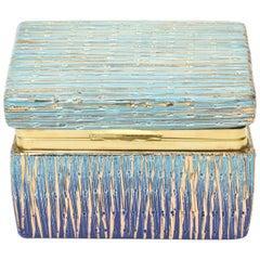Italian Mid-Century Modern Bitossi Glazed Ceramic, Gold and Brass Hinged Box