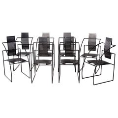 Set of Eight Alias Italian Mario Botta Quinta Op Art Chairs