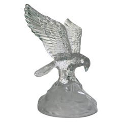 Lalique France Crystal Golden Eagle Rare Sculpture