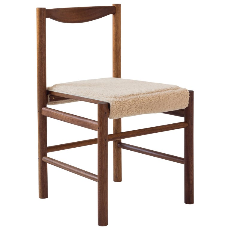 Wood Range Dining Chair in Walnut and Shearling by Fort Standard, In Stock For Sale