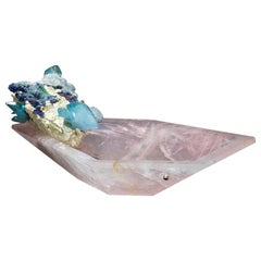 Studio Greytak 'Crystal Bling Bowl 5' Rose Quartz Bowl & Azurite, Emerald, Gold