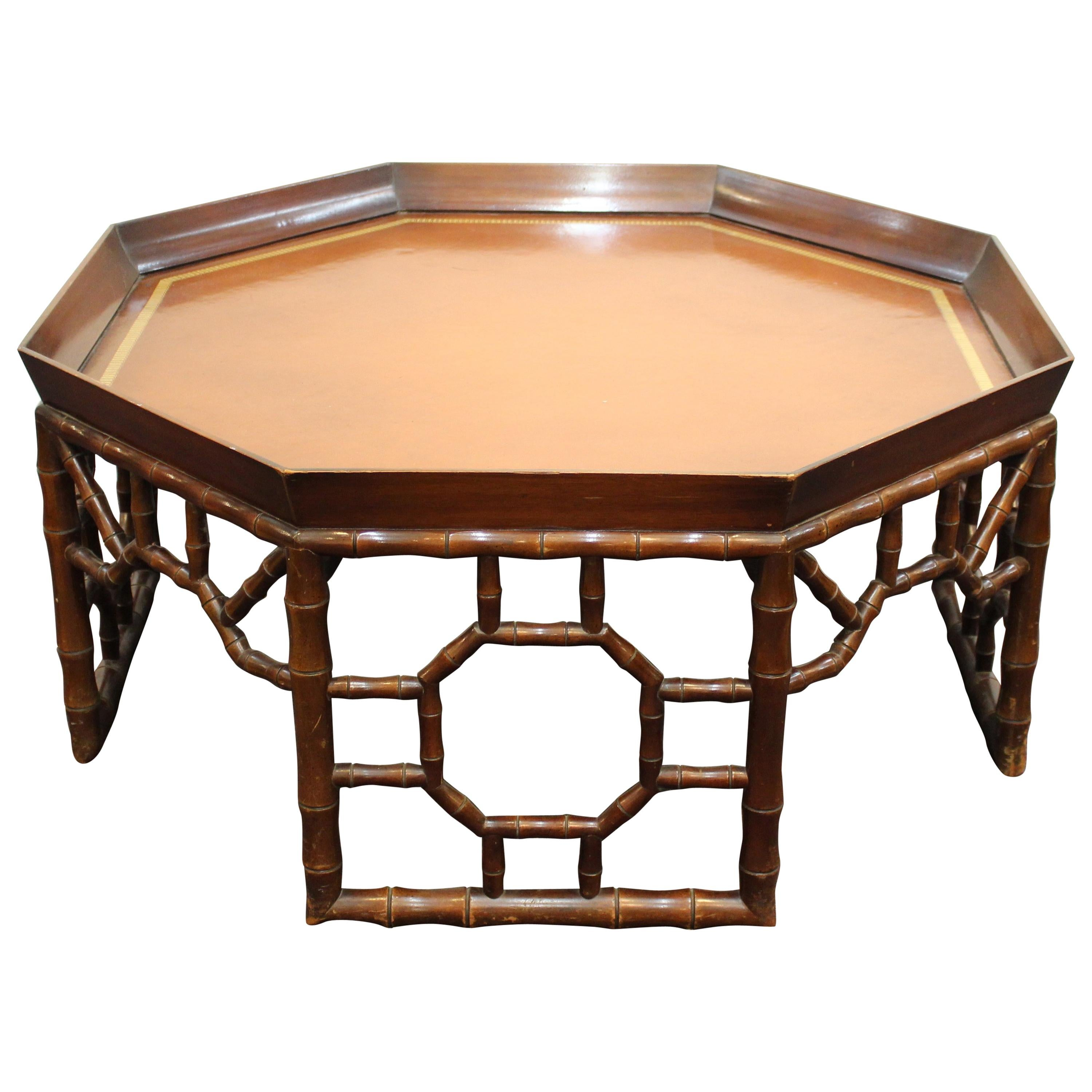 Baker Furniture Hollywood Regency Faux Bamboo Hexagonal Coffee Table
