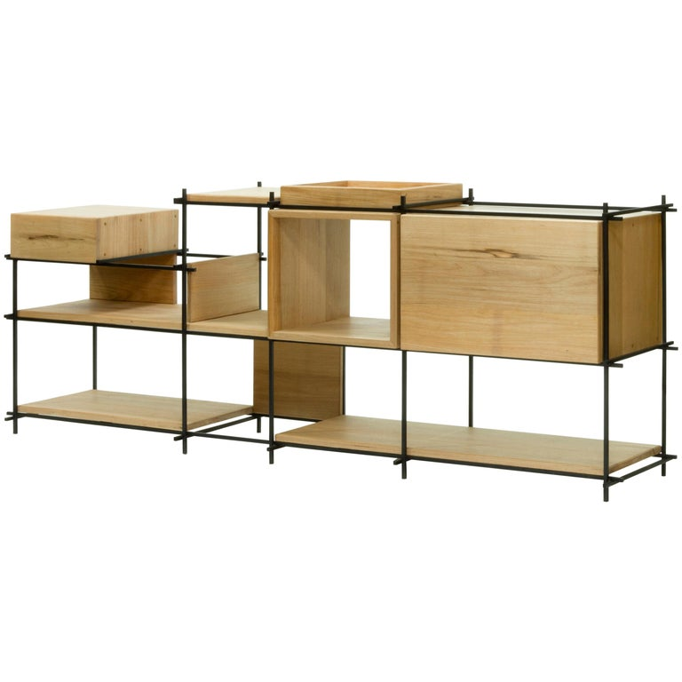 Sideboard in Hardwood and Steel, Brazilian Contemporary Design by O Formigueiro For Sale