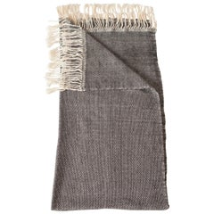 Handwoven Cotton Throw in Natural and Gray Check Weave, in Stock