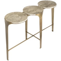 Ocean Console, Contemporary Table in Aged Brass and Travertine Marble