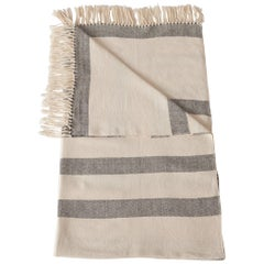 Handwoven Cotton Throw in Natural and Gray Gradient Stripe, in Stock