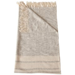 Handwoven Cotton Throw in Natural and Gray with Reverse Stripe, in Stock