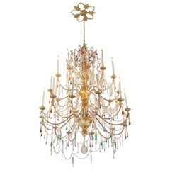 Large Fanciful Crystal and Gilt Metal and Wood Venetian Chandelier