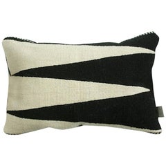 Handwoven Wool Modern Organic Throw Pillow in Black and White Geometry, in Stock