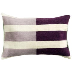 Handwoven Modern Organic Style Wool Throw Pillow with Lilac Stripes, in Stock