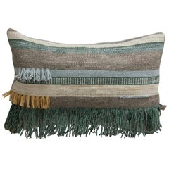 Handwoven New Boho Wool Throw Pillow in Ochre and Indigo with Fringe