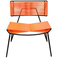 Handmade Midcentury Style Outdoor Lounge Chair, Charcoal with Coral PVC in Stock