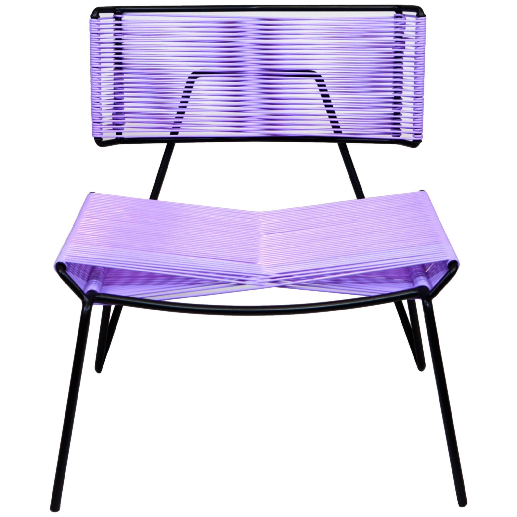 Handmade Midcentury Style Outdoor Chair Charcoal Steel, Lavender PVC in Stock