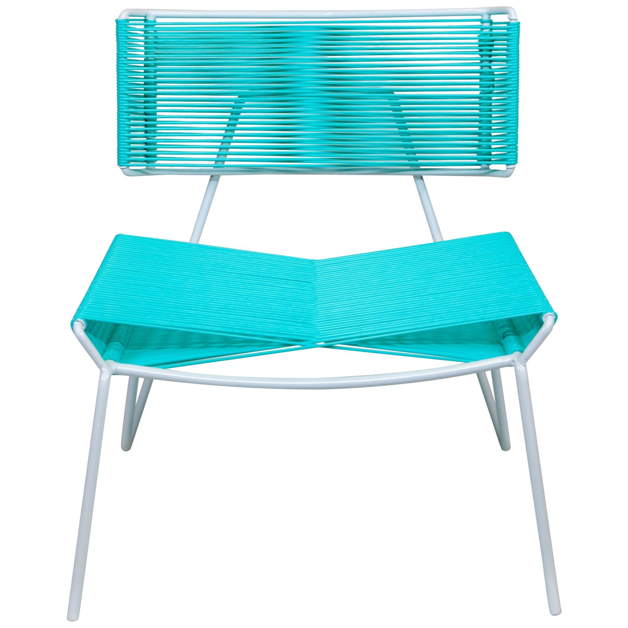 Handmade Midcentury Style Outdoor Lounge Chair, White with Mint PVC, In Stock