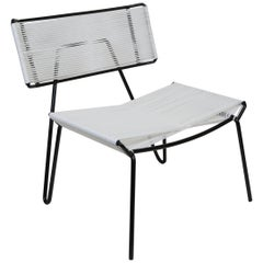 Handmade Midcentury Style Outdoor Lounge Chair, Black with White PVC, in Stock