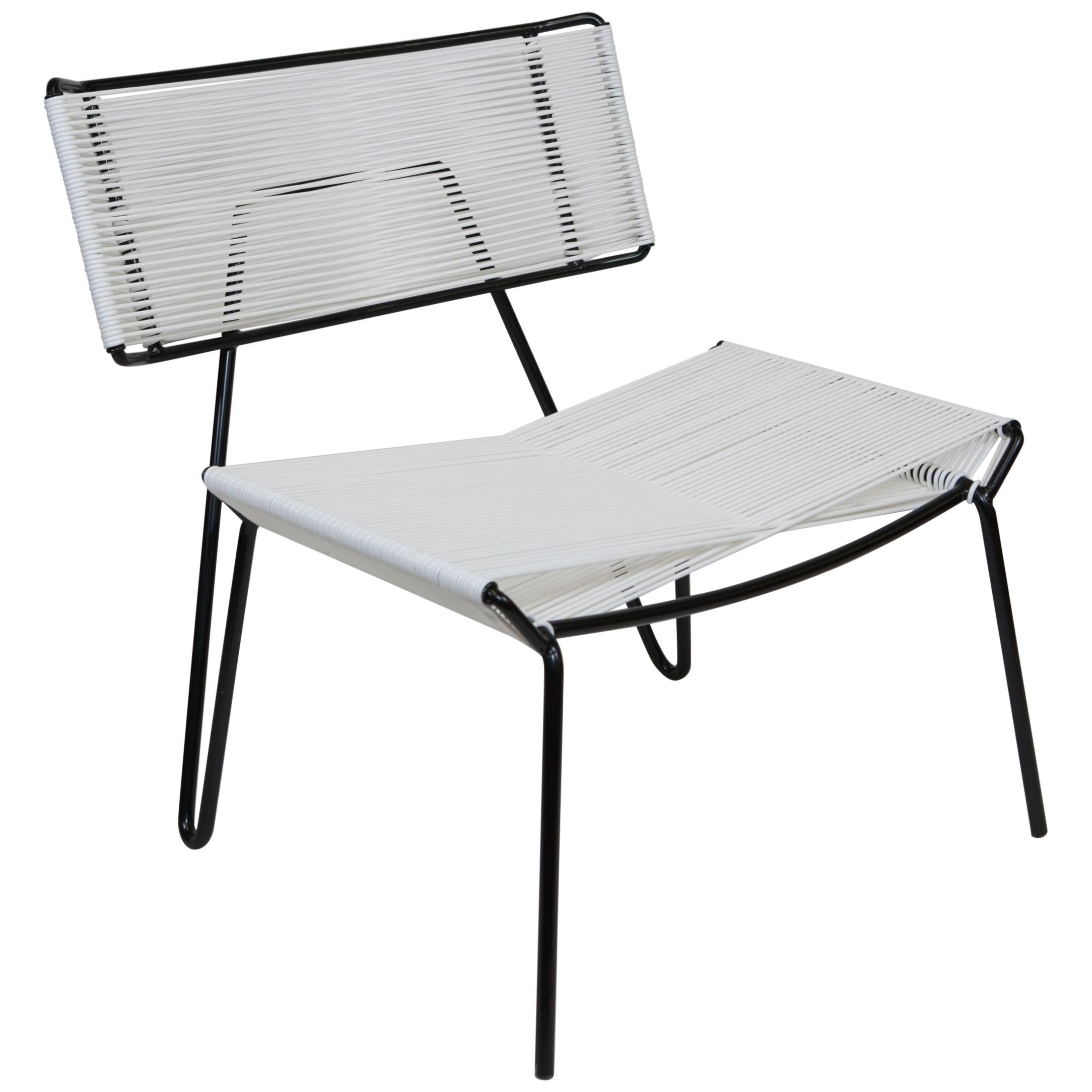 Handmade Midcentury Style Outdoor Lounge Chair, Black With White PVC, In  Stock For Sale