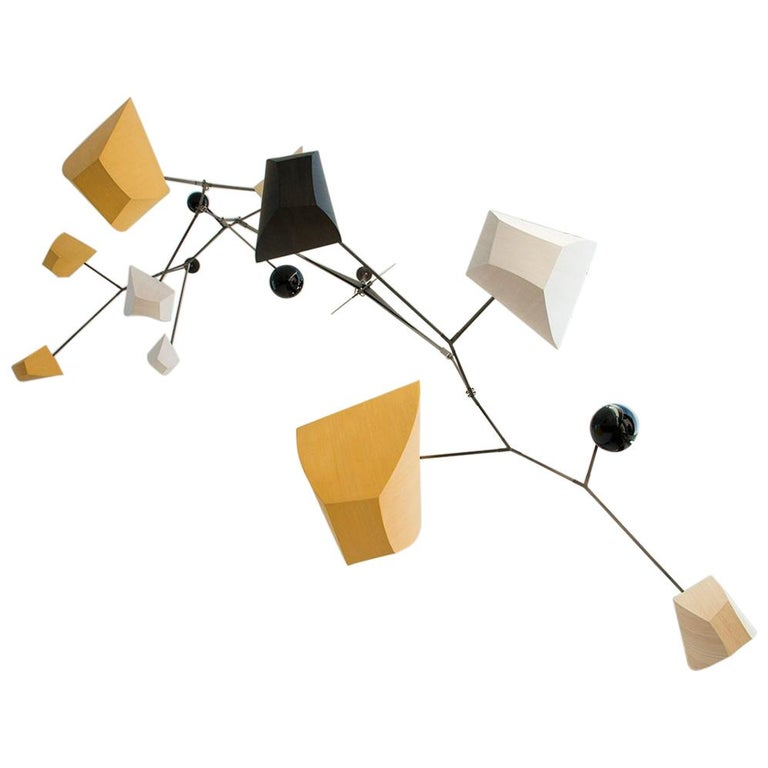 Bamboo and Brass Mobile Chandelier Custom by Andrea Claire Studio, Handmade For Sale