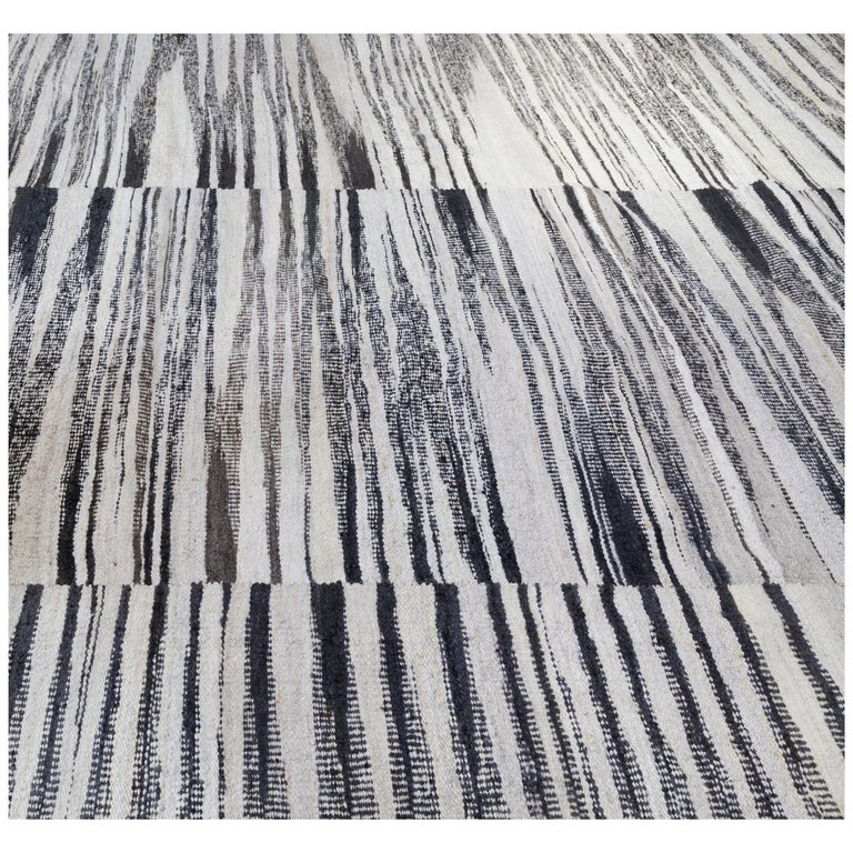 Handwoven Wool Rug In Black And White Graphic Pattern