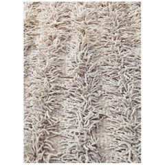 Handwoven Wool Rug, Organic Modern Tailored Shag Style