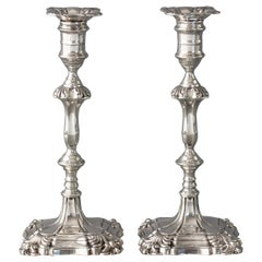 Good Pair of Silver Candlesticks in Mid-18th Century Style