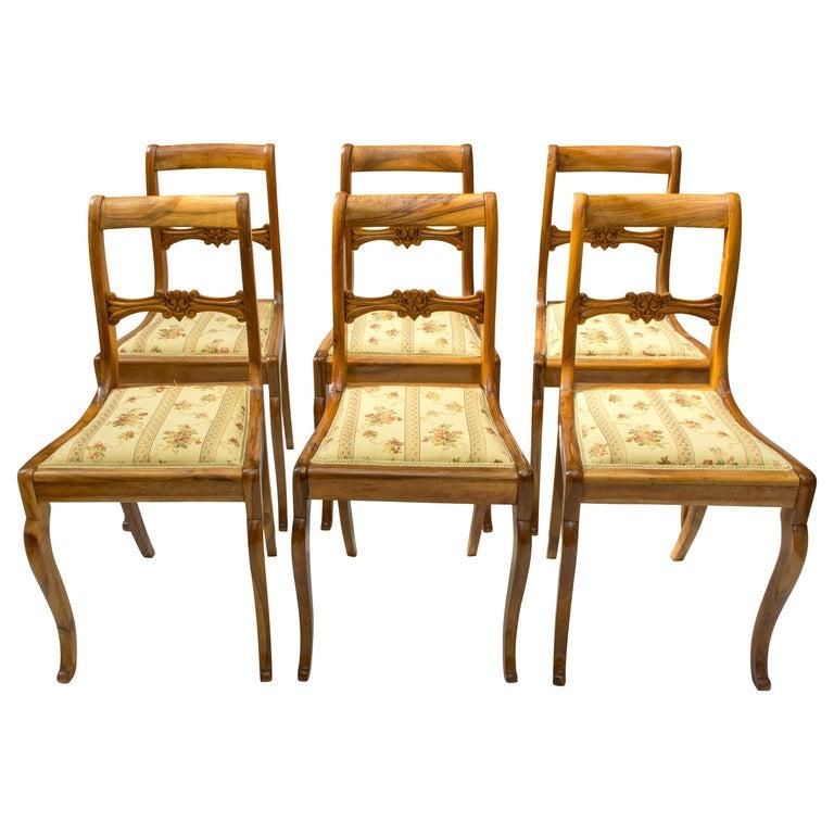 19th Century, Set of Six Solid Walnut Biedermeier Chairs For Sale