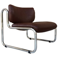 Midcentury Sculptural Chrome and Leather Italian Lounge Chair